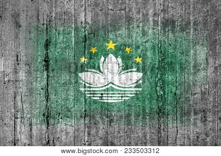 Macau Flag Painted On Background Texture Gray Concrete
