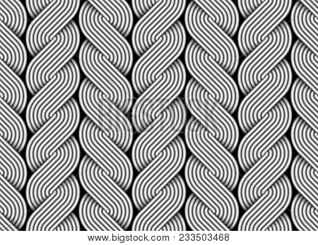 Seamless Pattern Of Braided Wires Like Tresses. Vector Decorative Illustration.