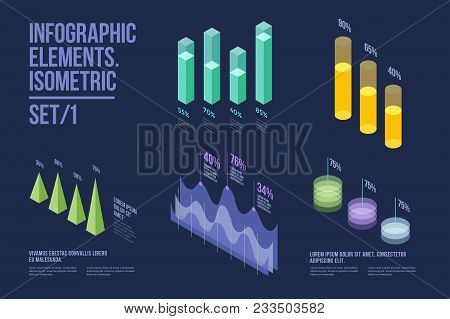 Set Of Colorful Infographic Vector Elements: Presentation Graphics, Statistics Of Data And Diagrams.
