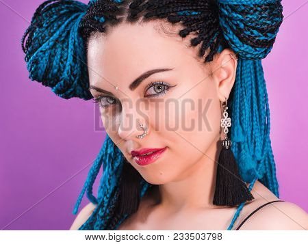 Glamour Portrait Of Sexy Woman With African Blue Braids Hairstyle, Bindi, Nose Ring And Tassel Earri