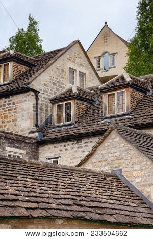 Slate roofs of old houses in Bradford on Avon, a town and civil parish in West Wiltshire, Southwest England, UK
