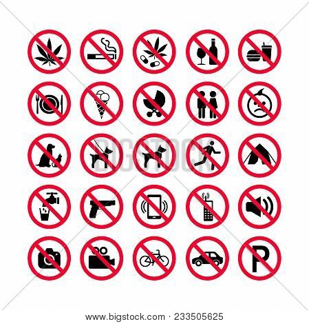 Red Prohibition Icons Set. Prohibition Signs. Forbidden Sign Icons. Red Warning Signs Set