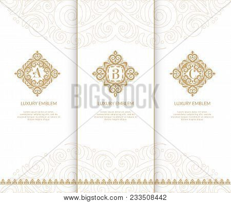 Luxury Golden Monograms. Vintage Elements. Can Be Used For Jewelry, Beauty And Fashion Industry. Ele