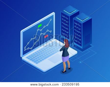 Isometric Businesswomen Trading Stocks Online. Stock Broker Looking At Graphs, Indexes And Numbers O