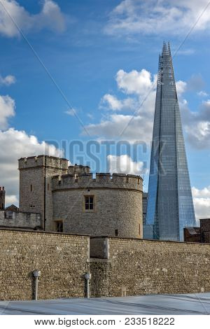 London, England - June 15, 2016: Panorama With Tower Of London And The Shard, London, England, Great