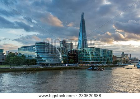 London, England - June 15, 2016: Night Photo Of City Hall And The Shard In London , England, United