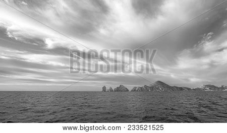 Lands End As Seen From The Sea Of Cortes At Cabo San Lucas In Baja California Mexico Bcs - Black And