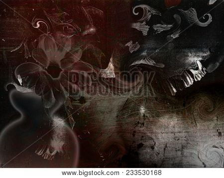 Depressive composition. Old skull with creepy teeth, dull flower. 3D rendering