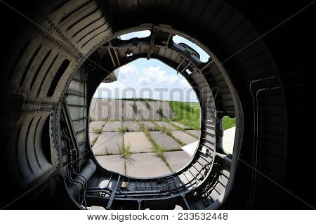 The Internal Structure Of The Old Fighter Aircraft, Rustypart Of Plave From Inside, Old Nozzle Of Ru
