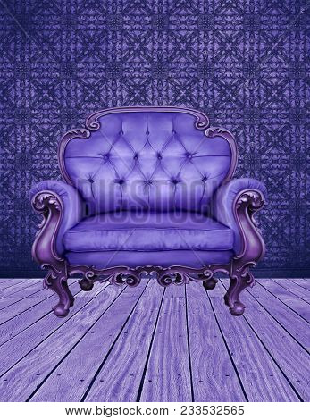 A Room In Purple Tones With Textured Walls, Wooden Plank Floor And Purple Leather Chair.