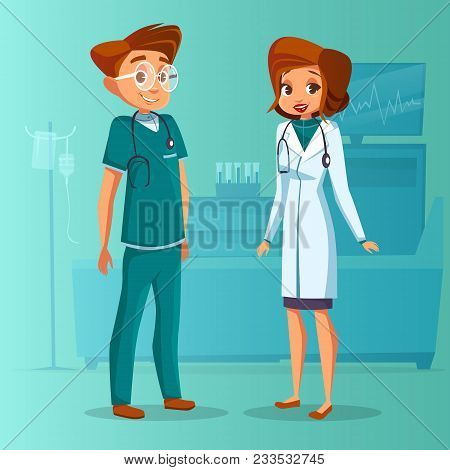 Vector Cartoon Male Female Doctor, Nurse Set. Surgeon Man In Green Uniform With Stethoscope, Physici