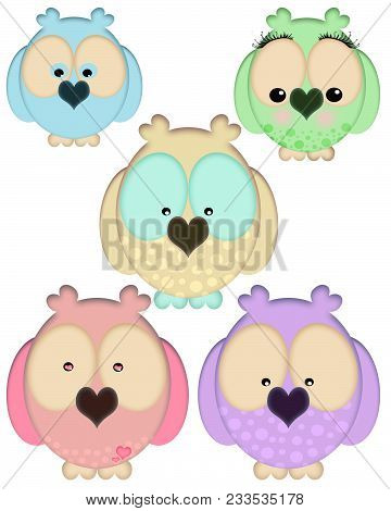 Illustrations Of A Group Of Colorful, Cute Owls In Various Colors With Different Facial Expressions.