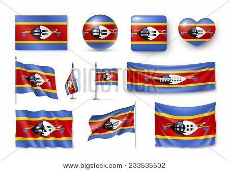 Set Swaziland Flags, Banners, Banners, Symbols, Flat Icon. Vector Illustration Of Collection Of Nati
