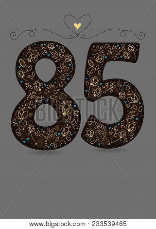 Brown Floral Number Eighty Five. Yellow Flowers And Plants With Drawing Effect And Small Blue Hearts