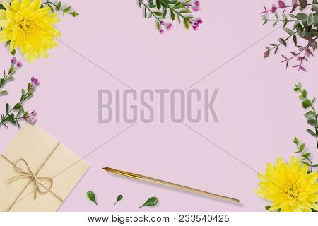 Letter, Envelope On Pink Background. Wedding Invitation Cards Or Love Letter With Chrysanthemums. Va