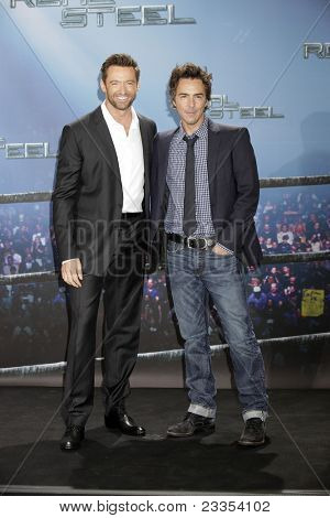MUNICH - SEPE 12: Hugh Jackman; Shawn Levy at the Real Steel photocall at Hotel Bayerischer Hof on September 12, 2011 in Munich, Germany
