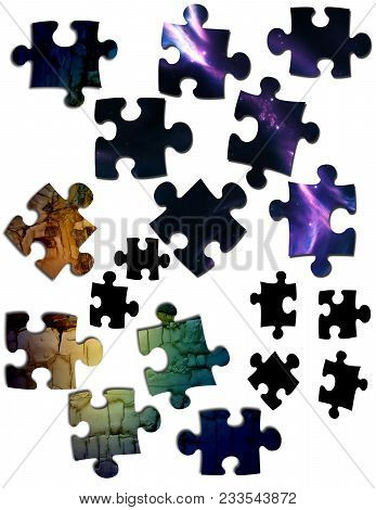 Random Puzzle Pieces On An Isolated White Background. Various Shapes.