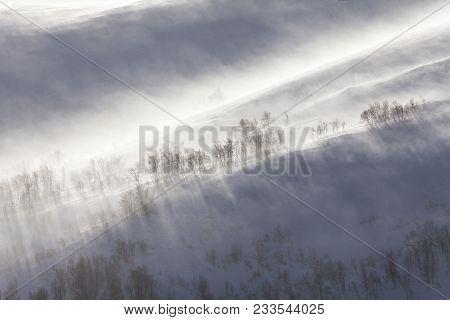 Mountainside In Strong Wind, Snowstorm. Its Whiteout In A Blizzard.
