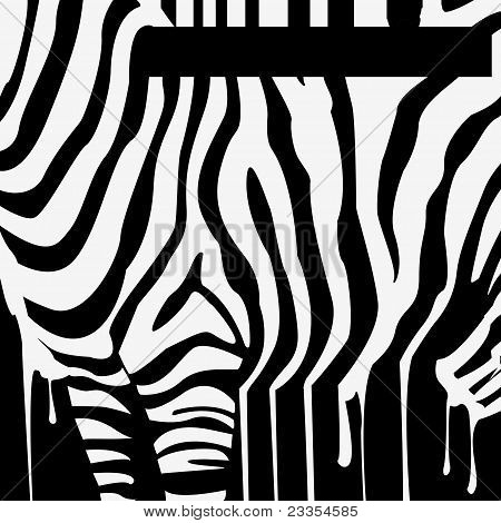 abstract vector zebra silhouette with smudges barcode poster