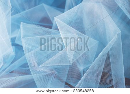 A Background Texture Of Sky Blue Tulle