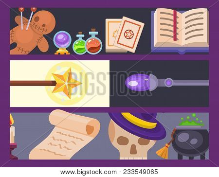 Magic Effect Trick Banner Magician Wand And Surprise Entertainment Fantasy Carnival Mystery Tools Ca