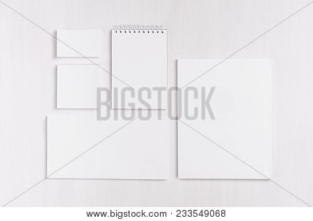 White Blank Business Card, Envelope, Letterhead, Notepad, Stickers On Soft White Wood Board. Mock Up