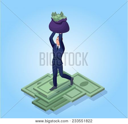 Businessman With Sack Of Money Banknotes,  Successful Financial Wealth Concept, Isometric 3d Vector
