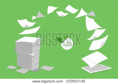 Concept Of Stack White Paperless Go Green Save The Planet Earth Trees Leaf Logo Documents Turned Int