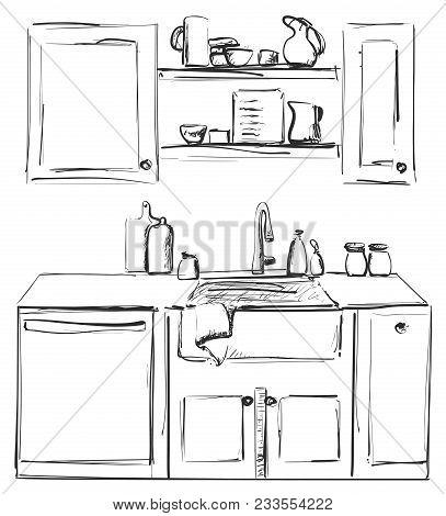 Kitchen Sink. Kitchen Worktop With Sink. The Sketch Of The Kitchen
