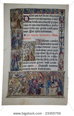 Illuminated Page From Fourteenth Century Medieval Latin Book Of Hours Depicting The Circumcision Of