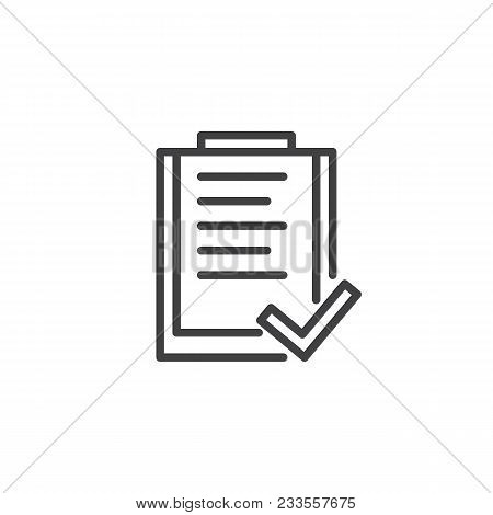 List And Check Mark Outline Icon. Linear Style Sign For Mobile Concept And Web Design. Document Clip