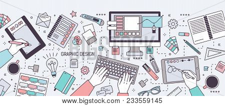 Horizontal Banner With Hands Of Designer Working In Digital Vector Editor Or Drawing On Tablet Surro