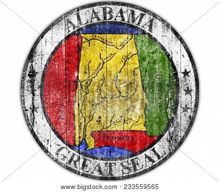 Us State Alabama National Seal Concrete Flag