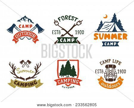 Set Of Vintage Woods Camp Badges And Travel Logo Hand Drawn Emblems Nature Mountain Camp Outdoor Vec