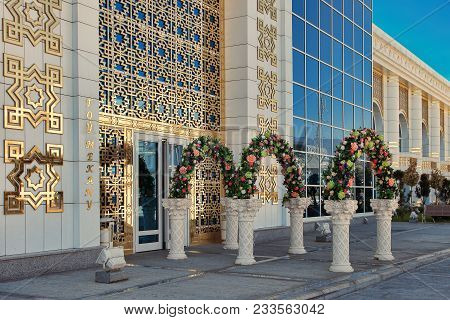 Ashgabat, Turkmenistan, April 28, 2017: Entrance To The Celebration Hall, Decorated With Flowers. As