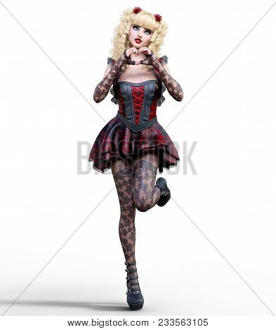 Young Beautiful Girl With Doll Face Posing Photo Shoot. Short Dark Red Dress, Stockings, Shoes. Long