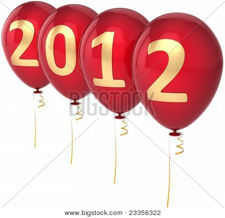 New 2012 Year party balloons decoration colored red with golden date