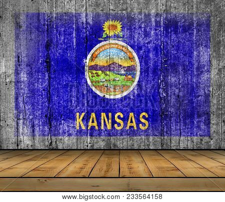 Us State Kansas National Concrete Flag With Wooden Floor