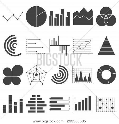 Business Data Graphs Icons. Financial And Marketing Charts. Market Elements Dot Bar Pie Charts Diagr