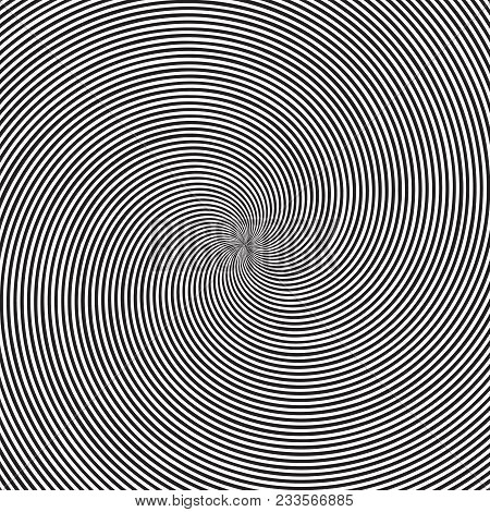Psychedelic Square Background With Circular Black And White Swirl, Helix Or Twist. Backdrop With Rou