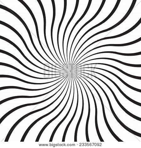 Abstract Background With Monochrome Radial Rays, Lines Or Stripes Curving Around Center. Backdrop Wi