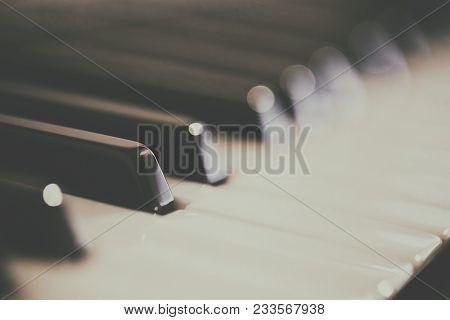 Photo Of Blurred Piano Keyboard  In Black And White