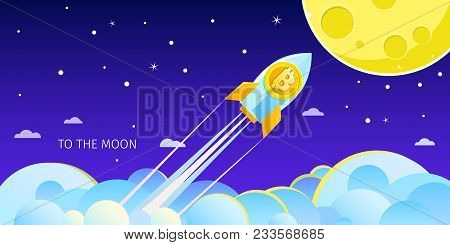 Concept Of Crypto-currency. Rocket Flying To The Moon With Bitcoin Icon. Crypto Currency Hype Vector