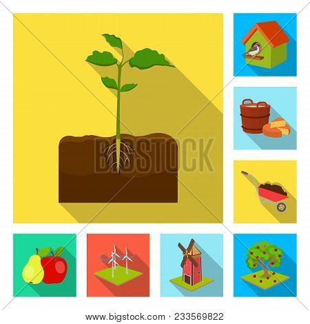 Farm And Agriculture Flat Icons In Set Collection For Design. Garden And Plants Isometric Vector Sym