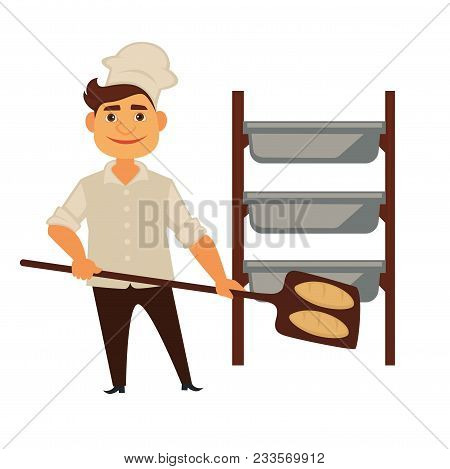 Baker Man In Bakery Shop Baking Bread. Vector Isolated Profession People Icon Of Baker At Work With