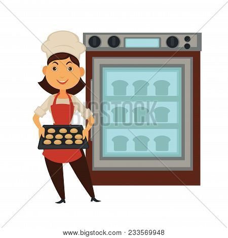Baker Woman In Bakery Shop Baking Bread. Vector Isolated Profession People Icon Of Baker At Work Wit
