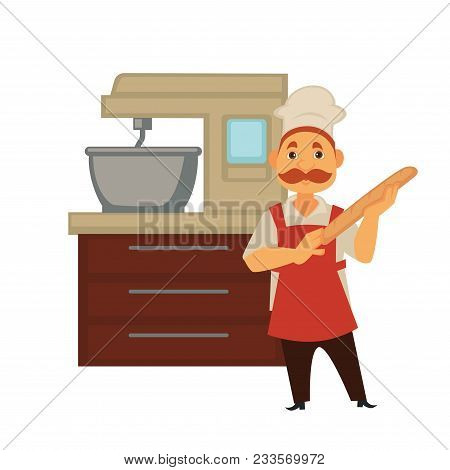 Baker Man In Bakery Shop Baking Bread Or Kneading Dough In Mixer. Vector Isolated Profession People