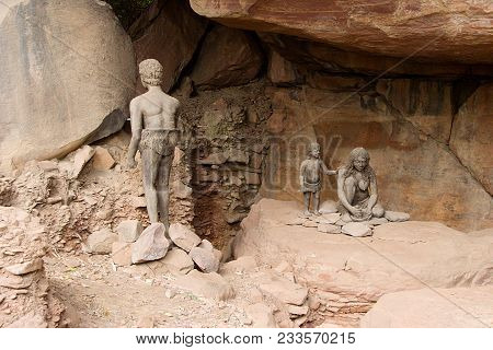 Life style of prehistoric cave dwelling family at  Bhimbetka Caves near Bhopal in Madhya Pradesh, India, Asia poster