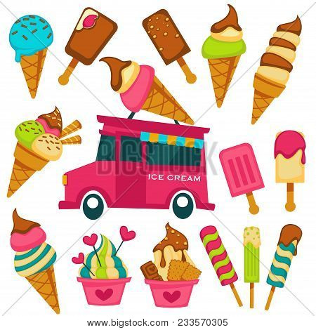 Ice Cream Scoops In Wafer Cones And Sweets Vendor Van Cart Cartoon Icons. Vector Fruit And Berry Fla