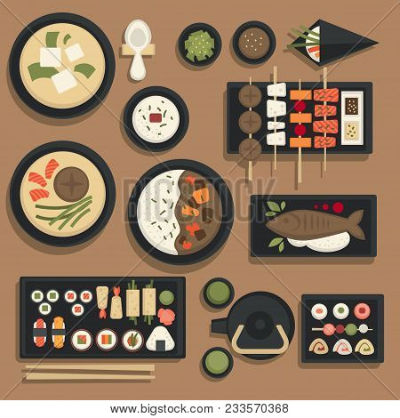 Japanese Food Traditional Dishes Icons Set Of Sushi Rolls, Bento Meals With Fish Or Miso Ramen And U